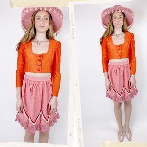 Vintage 70s Blood Orange Terrycloth Cropped Blouse